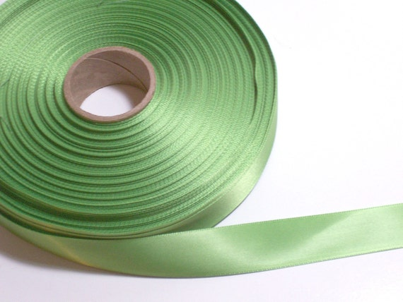 RESERVED FOR WATERMENOT Double-Faced Bright Lime Satin Ribbon 7/8 inch wide