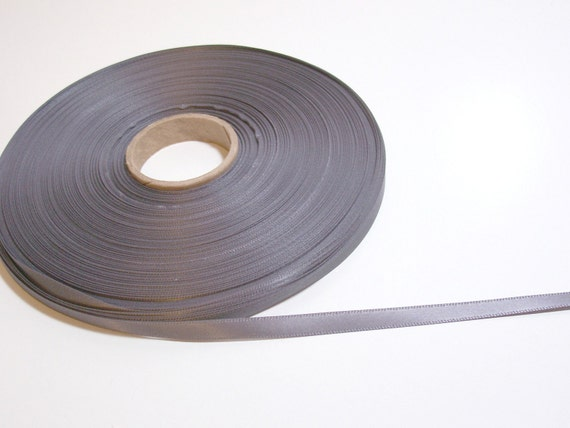 RESERVED FOR STRAWBERRIEROSE Double-sided charcoal gray satin ribbon 1/4 inch wide