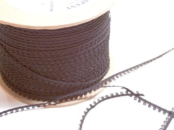 Vintage double-faced black picot edge ribbon 1/4 inch x 3 yards precut
