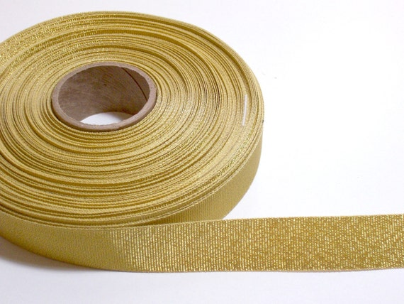 Metallic Gold Grosgrain Ribbon 7/8 inch wide x 10 yards SECOND QUALITY FLAWED