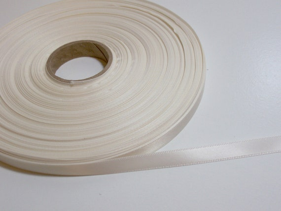 Double-Sided Ivory Satin Ribbon 3/8 inch wide x 2 yards
