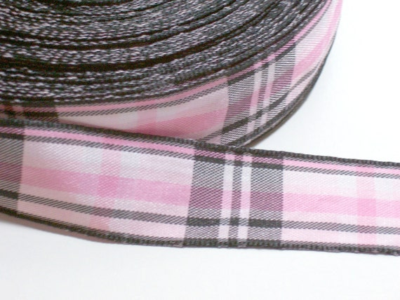 RESERVED FOR MADHATTERKNITSCO Pink and Black Plaid Ribbon 7/8 inch wide