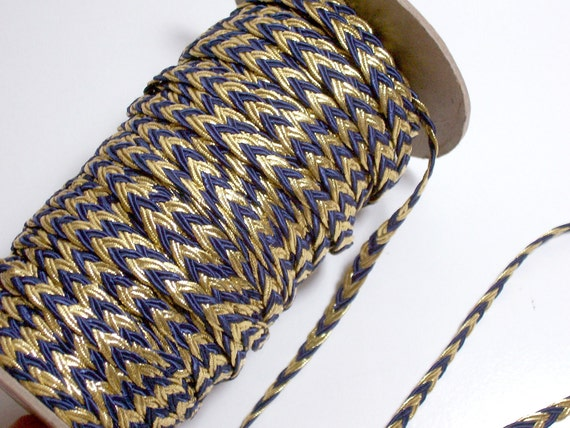 RESERVED FOR QUEENBEST Vintage Blue and Gold Braided Flat Cord Trim 1/4 inch wide
