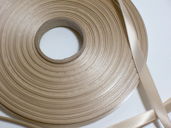 RESERVED FOR THEGREENWORLDSHOP Single-Faced Tan Satin Ribbon 3/8 inch wide