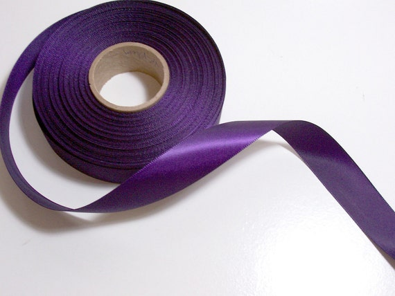Single-Sided Dark Plum Satin Ribbon 7/8 inch wide x 15 yards CLEARANCE