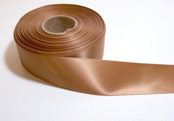 Bronze Single-faced Satin Ribbon 1 1/2 inches wide x 1 yard precut/ Craft Supplies/ Sewing Trim
