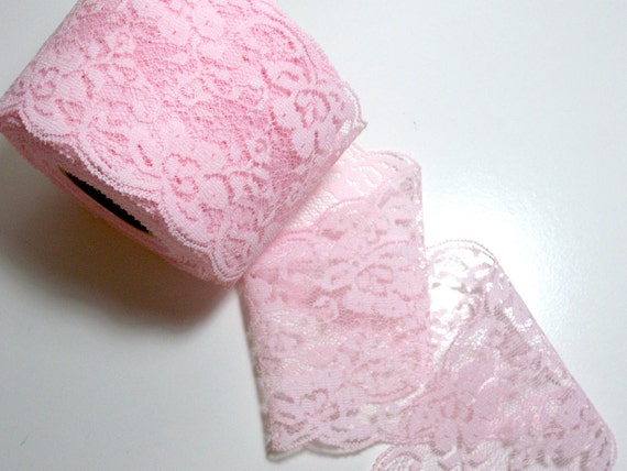 Baby Pink Lace 3 1/2 inches wide x 1 yard