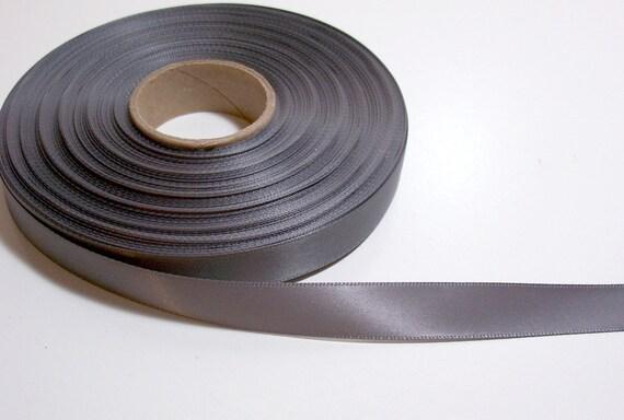 Gray Ribbon, Charcoal gray satin ribbon 5/8 inch Double-Faced x 6 yards, Offray Pewter Ribbon