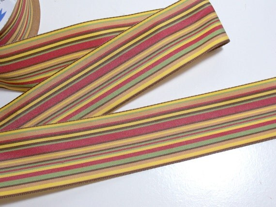 Double-Faced Mustard Stripe Ribbon 1 1/2 inches wide x 4 yards CLEARANCE/ Craft Supplies/ Sewing Trim