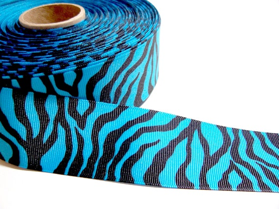 Blue Tiger Stripe Grosgrain Ribbon 1 1/2 inches wide x 3 yards