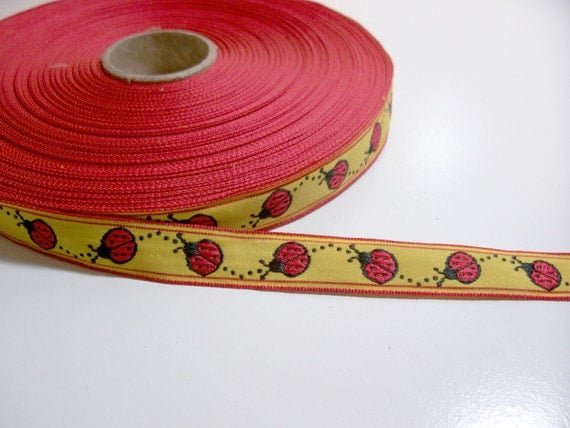 Reserved for Tutusclosets Lady Bug Embroidered Jacquard Ribbon Sewing Trim 5/8 inch wide SECOND QUALITY FLAWED/ Craft Supplies