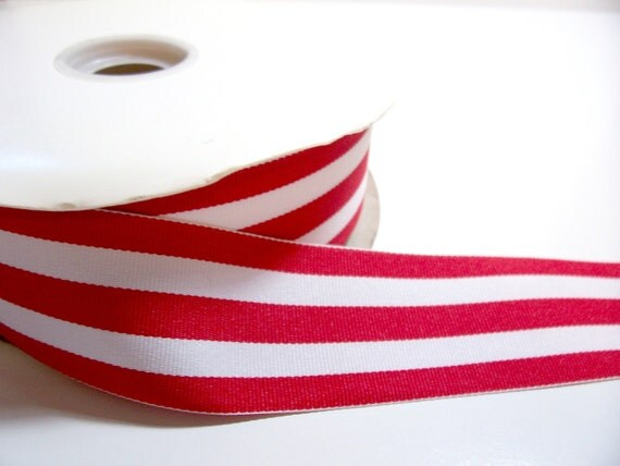 Red and White Stripe Grosgrain Ribbon 1 1/2 inches wide x 50 yards, Full Bolt, Offray Mono Stripe Ribbon