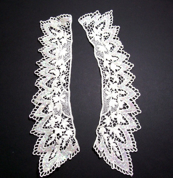 Ivory Venice Lace Glittered Applique Collar Set of 2 Pieces/ Craft Supplies/ Sewing Trim