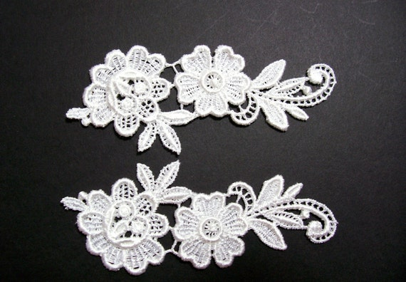 White Venice Lace Flower Applique Set of 2 Pieces