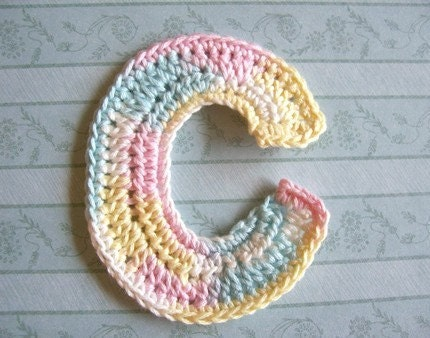 Free Crochet Pattern Letter C : Handmade Crocheted Letter C applique in Baby