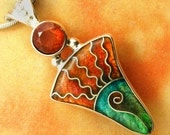 Cloisonne Enamel Pendant in Silver with Faceted Sunstone - Sonoran Sunrise