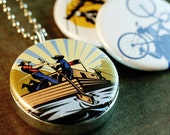 Picture Locket - Working Man Retro LOCKET SET By Polarity Magnetic and Recycled