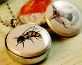 Bee Locket Necklace - Honeycomb - Mini Eco Friendly Locket Set By Polarity - Magnetic Necklace