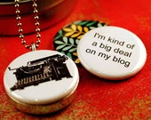 Typewriter Locket Necklace - BLOGGERS Recycled Magnetic Locket Set By Polarity