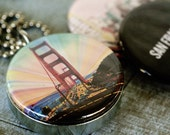 San Francisco Jewelry, San Francisco Necklace, San Francisco Locket, Golden Gate Bridge, San Francisco Art, Gift for Her, Magnetic, 3 in 1