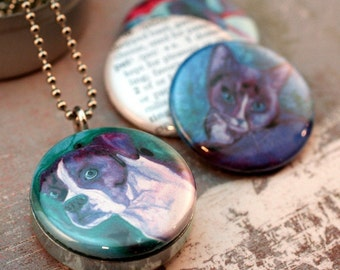 Dog Art Locket, Jack Russell, Boxer, Cat Art, Animal Lover Gift, Watercolor Paintings by Ann Ranlett, Magnetic, Recycled Locket by Polarity