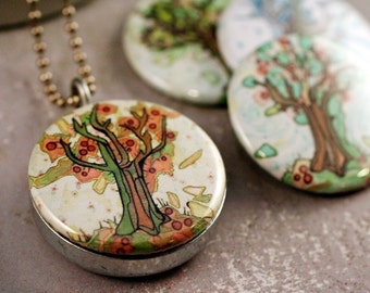 Four Seasons Tree of Life Locket | Magnetic, 4 in 1 Set - Spring, Summer, Autumn, Winter | Recycled Steel | Polarity | Jessica Doyle Artwork