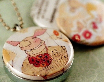 Whimsical Art Locket Necklace, Flower Girl Locket, Pink Pig Art Jewelry, Whimsical Gift, Birthday Gift Her, Whimsical Art Corid and Polarity