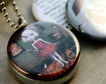 Fantasy Locket Necklace - Circus Girls Magnetic Jewelry, Tightrope Walker, Animal Trainer Locket Set by Solocosmo and Polarity
