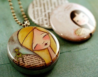 Angel Artwork Locket Necklace, Angel Necklace, Angel Locket, Gift for Girl, Magnetic With 3 Interchangeable Lids, Dudadaze Art, Polarity