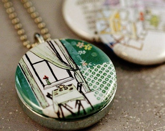 Kitchen Drawings Picture Locket - Retro Designs, Nuture Definition, Polarity Upcycled Necklace - Stephanie Levy Artwork