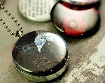 Peacock Art Locket - Swan Art Locket Necklace - Polarity, Recycled Locket - Fhiona Galloway