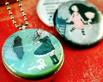 Silver Locket - Girl, Umbrella, Cat in Tree, Girl Gift, Picture Locket, Eco Friendly, Magnetic Necklace - Whimsical by Matilou and Polarity