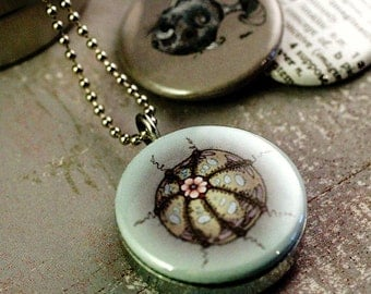 Sea Urchin Necklace, Sea Urchin Jewelry, Magnetic, Inetrchangeable, 3 in 1 , Sealife Locket, Holds a Picture, Jessica Doyle Art, Polarity