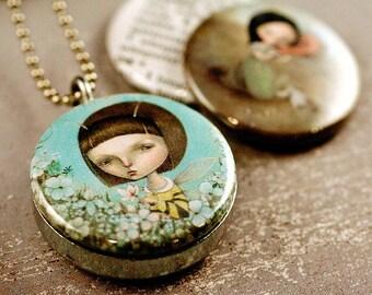 BEE Girl Locket, Seashell Girl, WHISPER, Secret Keeper Locket, Holds Note or Picture, Gift for Her, Dilkabear Artwork, Polarity, Magnetic