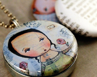 Girl Picture Locket, Bird, Heart, Magnetic Polarity Locket , Wish Necklace, PBsArtStudio, Little Girls, Magic, Love, Recycled, Eco Friendly