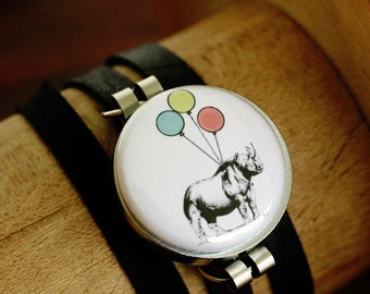 Rhino Bracelet, Rhino Jewelry, Gift for Teen Girl, Leather Wrap Bracelet, Fits All, Birthday Gift, 3 Bracelets in 1, Art to Wear, Polarity