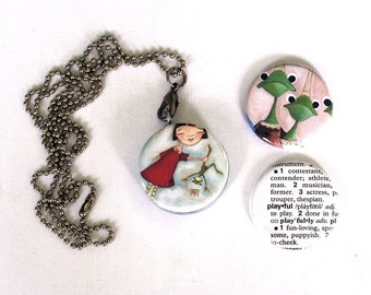 Frog and Princess Picture locket - Magnetic Necklace - Upcycled by Polarity - PLAYFUL by Dudadaze