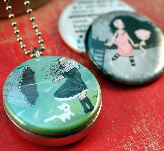 MATILOU Whimsical Recycled Magnetic LOCKET SET By Polarity 3 in 1 Necklace