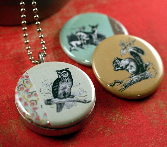 Woodland Creatures Recycled Magnetic LOCKET SET By Polarity