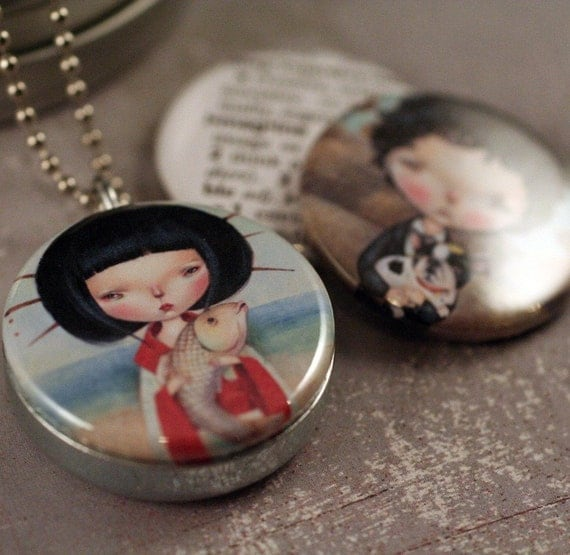 Imagination Locket with Dilkabear Artwork- Asian Girl, Fish, Boy, Boston Terrier - Eco Friendly by Polarity and Dilkabear
