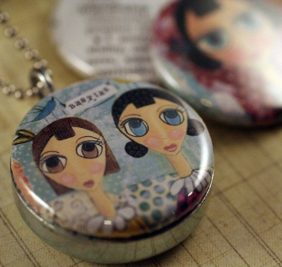 FRIENDSHIP herpaintedword Recycled Magnetic LOCKET SET By Polarity