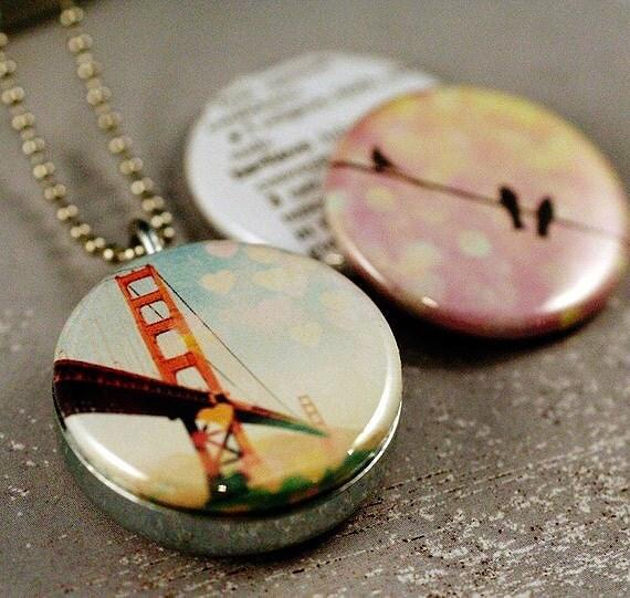 Golden gate bridge jewelry locket necklace bokeh for Golden gate bridge jewelry