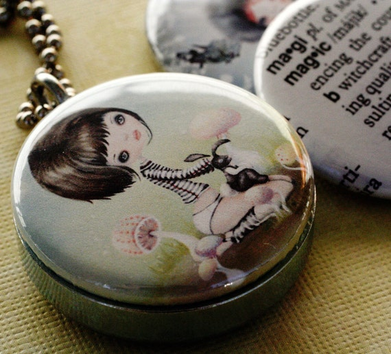 Girl Mushroom Silver Locket - Little Sonrisa - Upcycled and Magnetic by Polarity - Magic