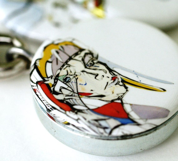 Art Locket Necklace - Modern Faces, Magnetic Locket - by Polarity and Lucita Peek