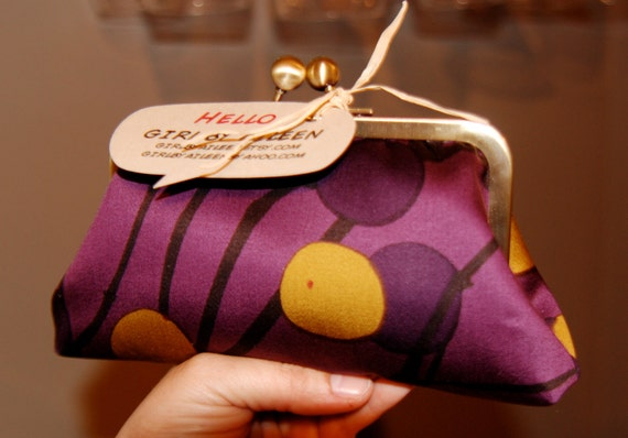 Custom order for Marimekko Purple Eggplant Clutch for M Clark