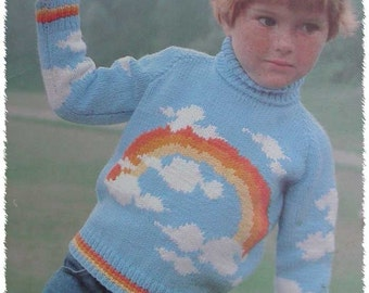 Vintage Beehive Childs Sweater Knitting Pattern Book