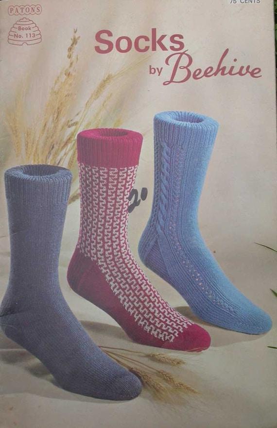 Knitting Pattern Books For Socks : VINTAGE PATONS BEEHIVE SOCKS KNITTING PATTERN by TheHowlingHag