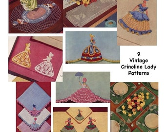 9 Vintage 1940's Victorian Crinoline Lady Crochet Patterns PDF