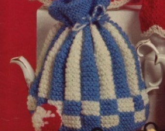 Vintage 1950's Striped and Checkered Tea Cozy Knitting Pattern PDF