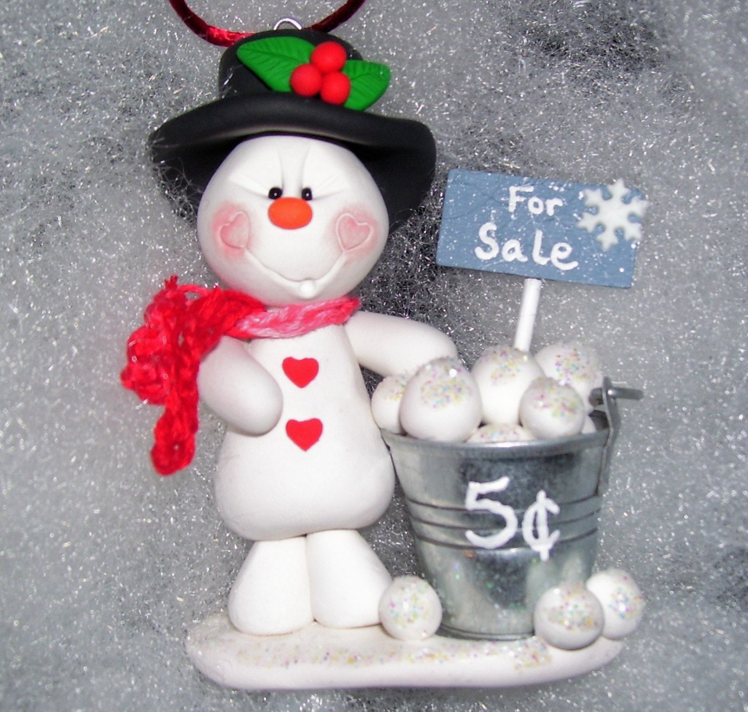 Snowballs For Sale Polymer Clay Snowman Christmas Ornament
